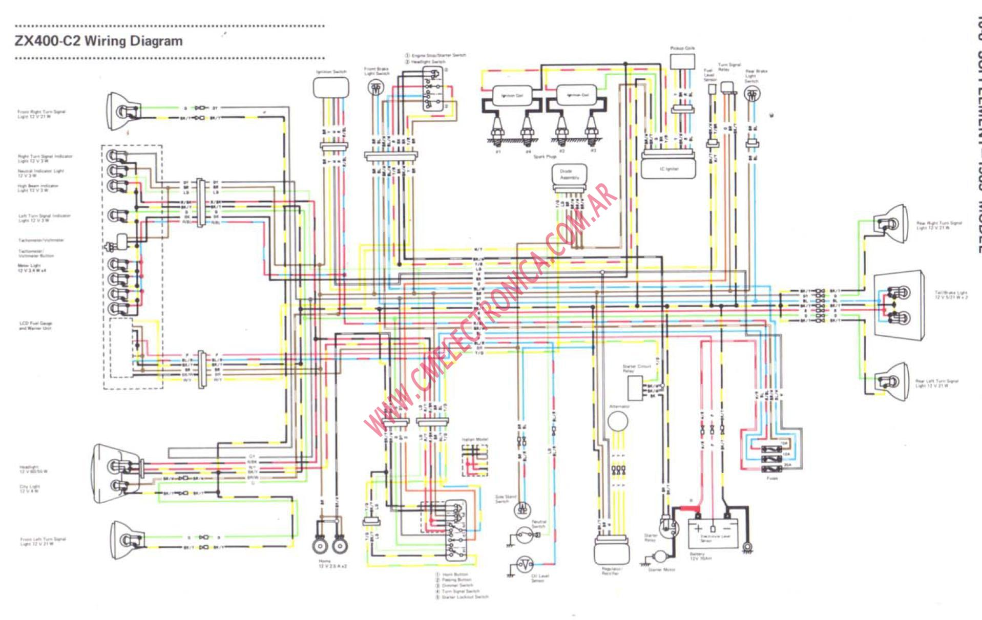 Diagrama Kawasaki Gpz Zx400 85on