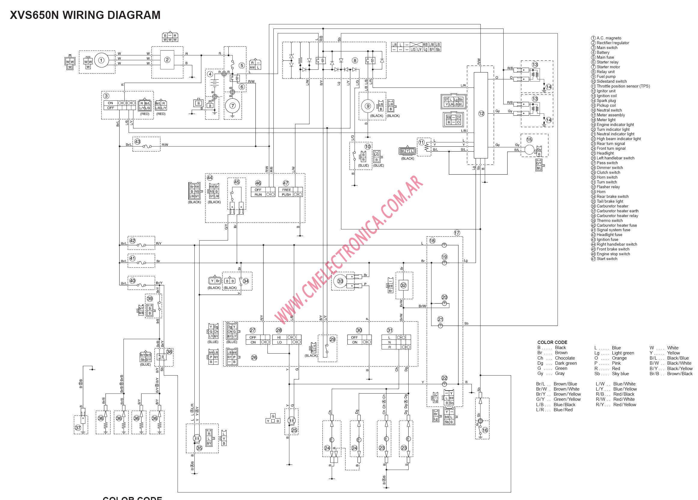 yamaha dragstar xvs650 2000 2006 yamaha wiring diagram wiring diagram data