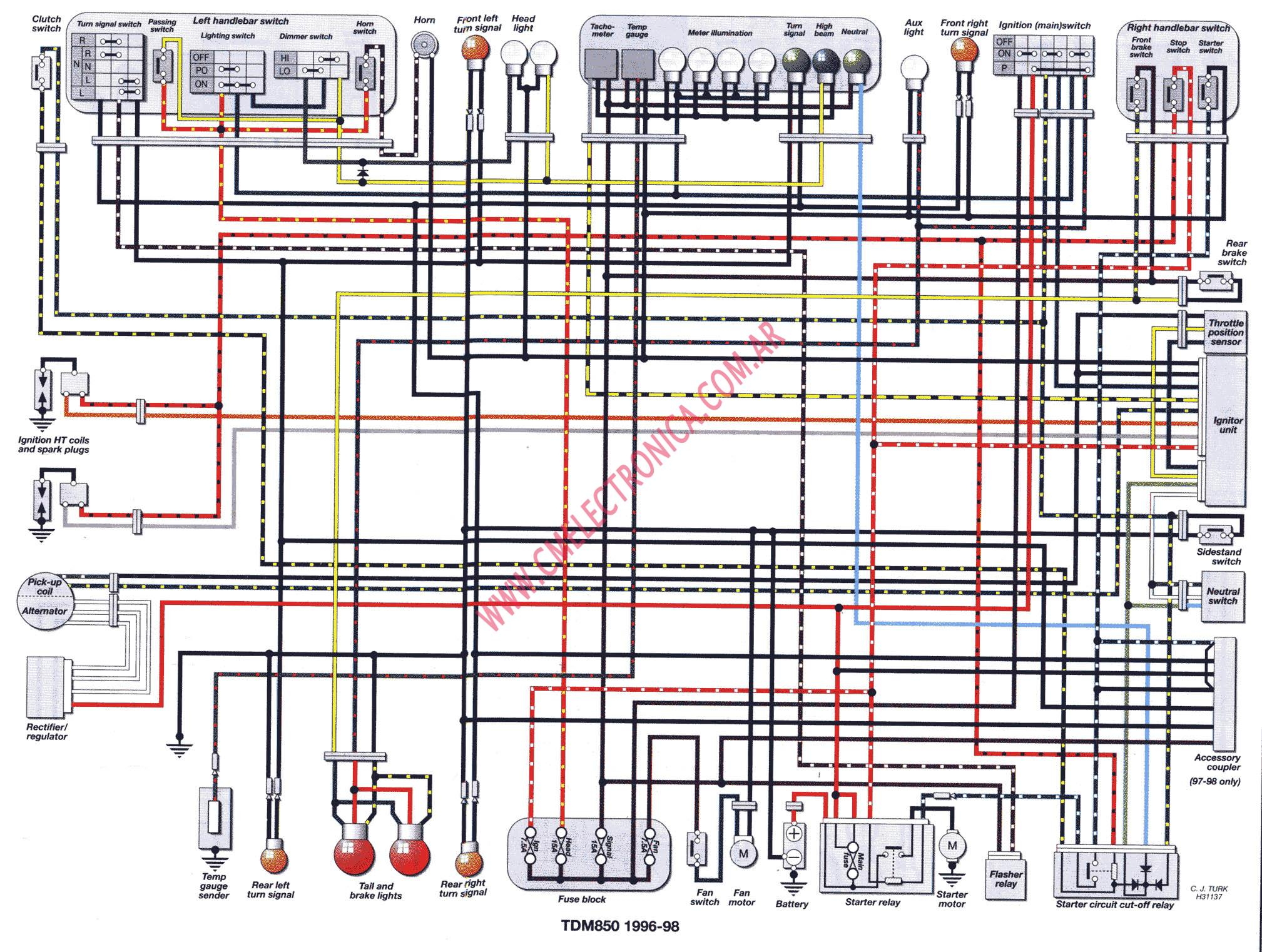 1997 Yamaha Wiring Diagram Simple Guide About Diagrama Tdm850 96 98 Gp1200 Golf Cart